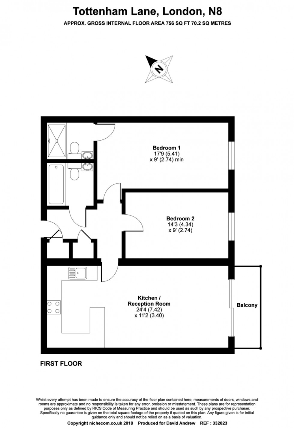 Floorplan for Tottenham Lane, London