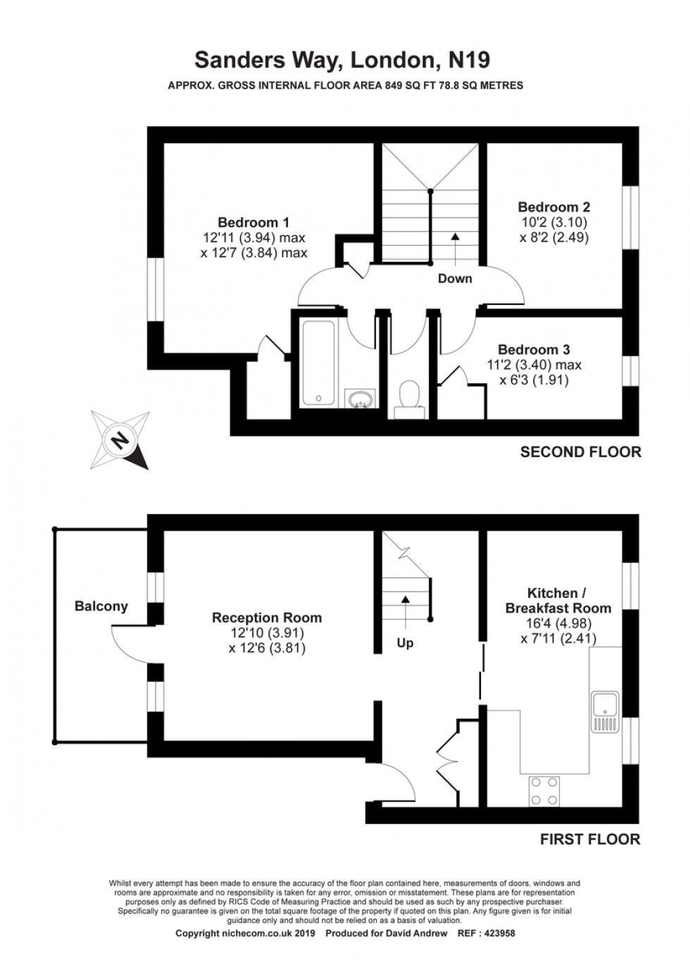 Floorplan for Sanders Way N19 3JA