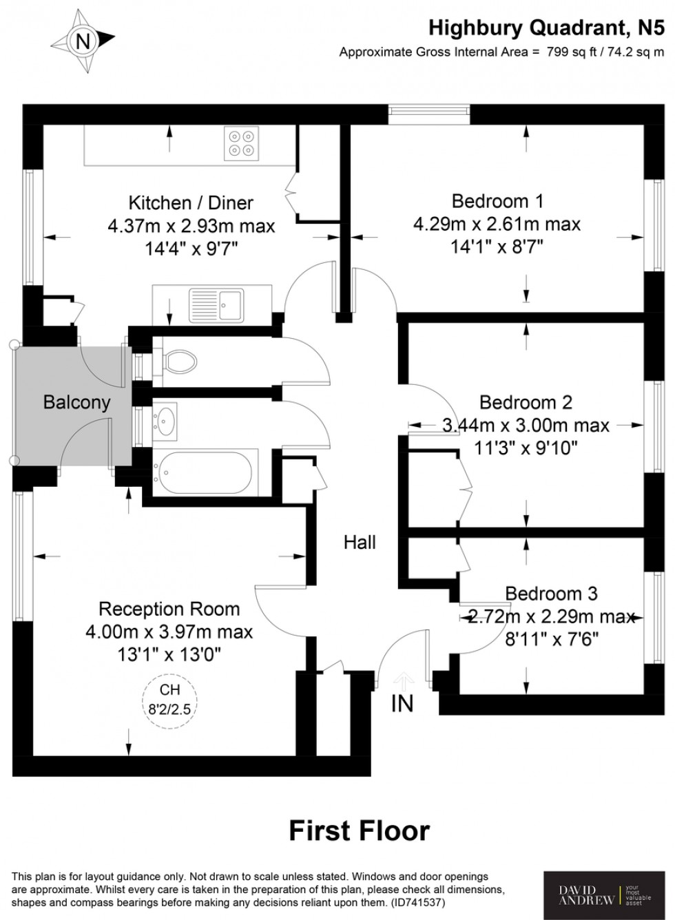 Floorplan for Highbury Quadrant, N5 2TG